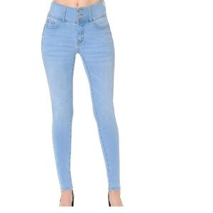 WAX JEAN PUSH-UP HIGH-RISE 3-BUTTON SKINNY SZ 0